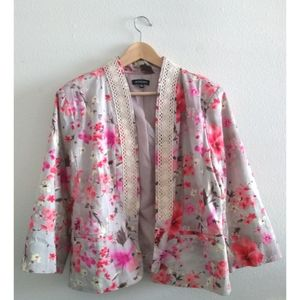 Notations Taupe Open Front Floral Blazer